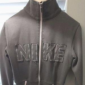 Nike women's gray pink full zip up bomber style sweatshirt size medium